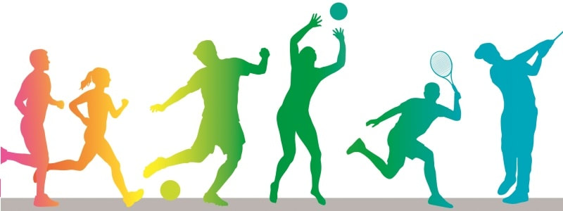 Colorful clipart and silhouettes of active people playing sports
